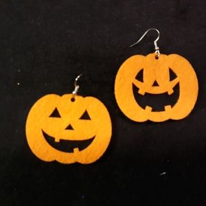 Jack-o-Lantern Earrings - Handmade